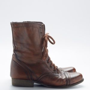 Steve Madden Cognac Leather Troopa Boot Brown 8.5